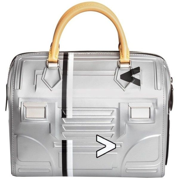 Preowned Louis Vuitton Limited Edition Space Silver Leather Speedy 25... ($4,865) ❤ liked on Polyvore featuring bags, handbags, silver, top handle bags, genuine leather purse, white purse, leather handbags, leather top handle bag and louis vuitton purse