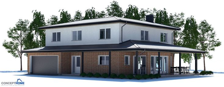 Modern+house+plan+with+four+bedrooms,+covered+terrace,+open+planning,+fireplace,+garage,+two+floors.