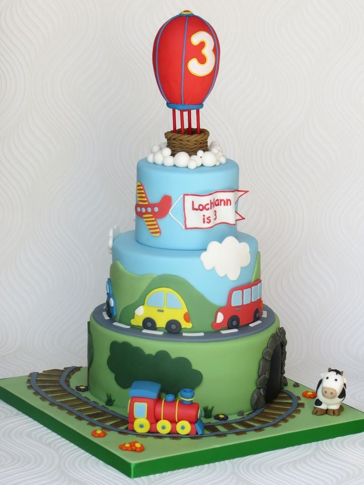 A transport themed birthday cake for my nephew who couldn't...