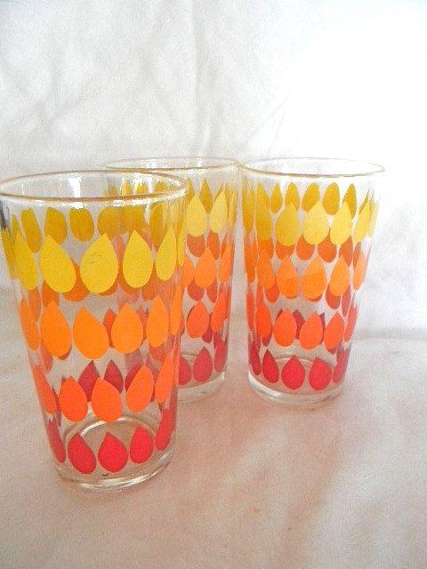 vintage mod orange yellow tumbler glasses 3 by snugsnuggery, $15.00