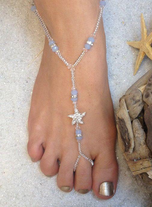 Articoli simili a Stella di mare spiaggia nozze a piedi nudi piedi sandali gioielli cavigliera destinazione matrimonio abiti da sposa accessori su Etsy