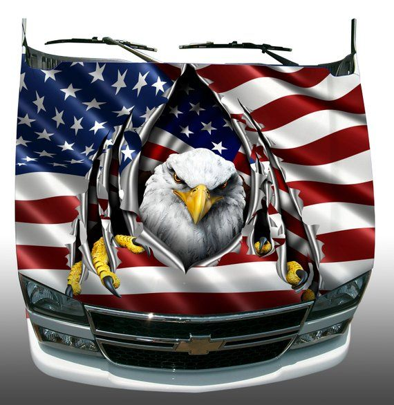 American Flag Eagle Rip Car Truck Hood Wrap Vinyl Graphic Decal