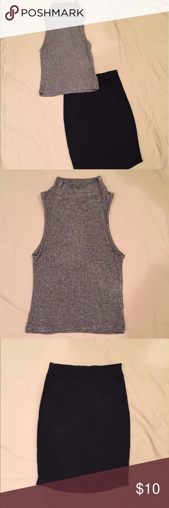 Brandy Melville Knit top and Skirt Beautiful gray Knit sleeveless top and tight black skirt! Love these two together. Can sell separately but prefer to sell together. Both in great condition! Brandy Melville Other