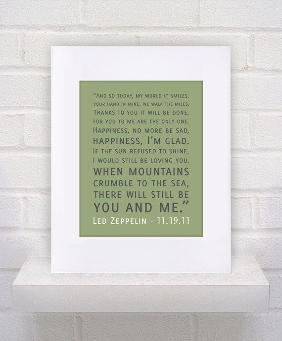 Custom  Led Zeppelin Lyrics  Thank You  11x14  by KeepItFancy, $17.00