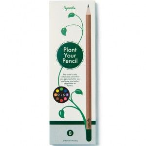 A green coloured pencil made from sustainable wood with a dissolvable end capsule containing Basil seeds. Plant your pencil stub when it becomes too short to draw with and watch herbs grow. One green colouring pencil containing Basil seeds.