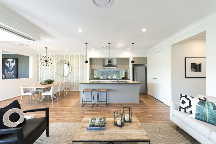 Domaine Homes. Arizona 26. Kitchen, meals and family. Internal Colour Scheme: Mont Cafe