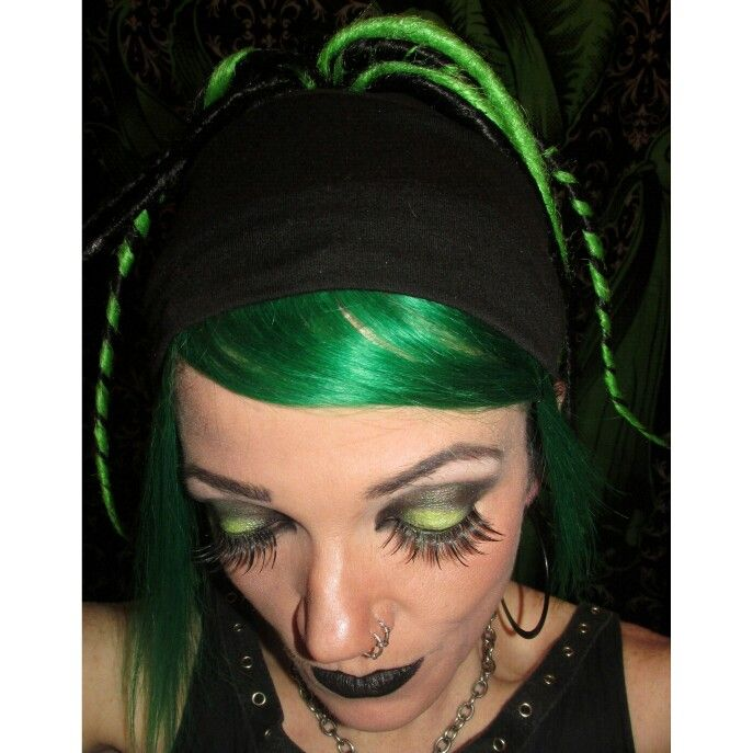 Green and Black Alternative makeup.. cyber dreads