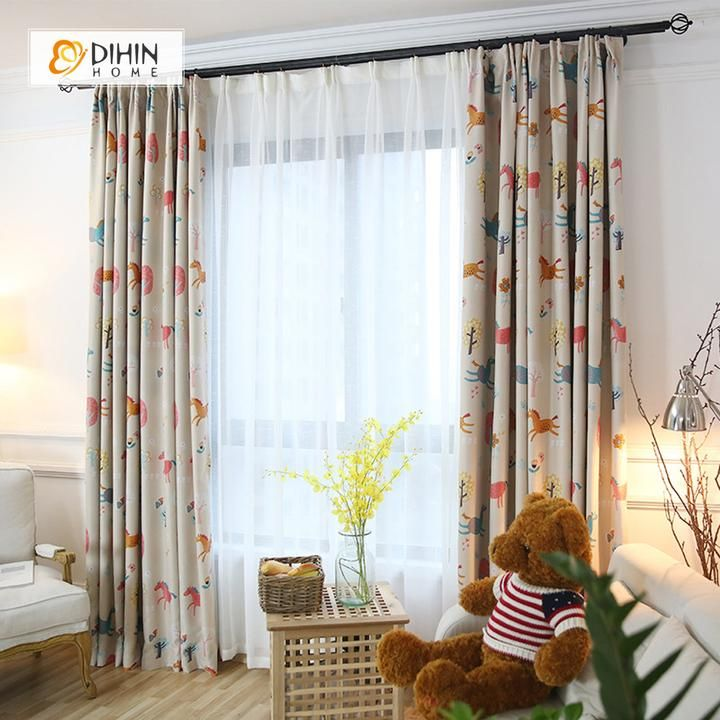 Dihin Home Cartoon Horse And Tree Printed Blackout Grommet Window Curtain For Living Room 52x63 Inch 1 Panel Curtains Living Room Kids Curtains Children Room Girl