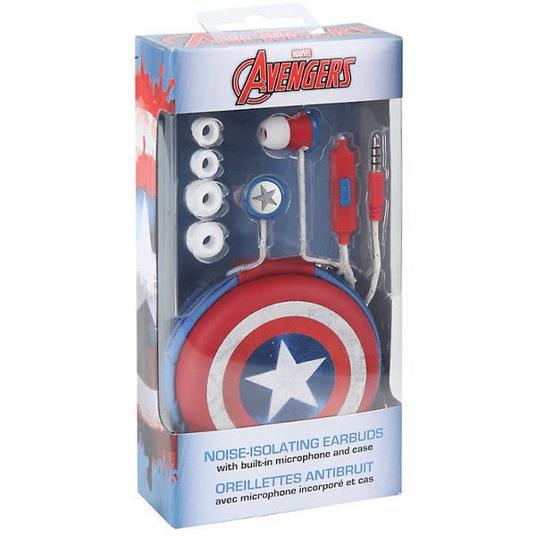 Marvel Avengers Captain America Earbuds Hot Topic ($15) ❤ liked on Polyvore featuring accessories, tech accessories and earphones earbuds