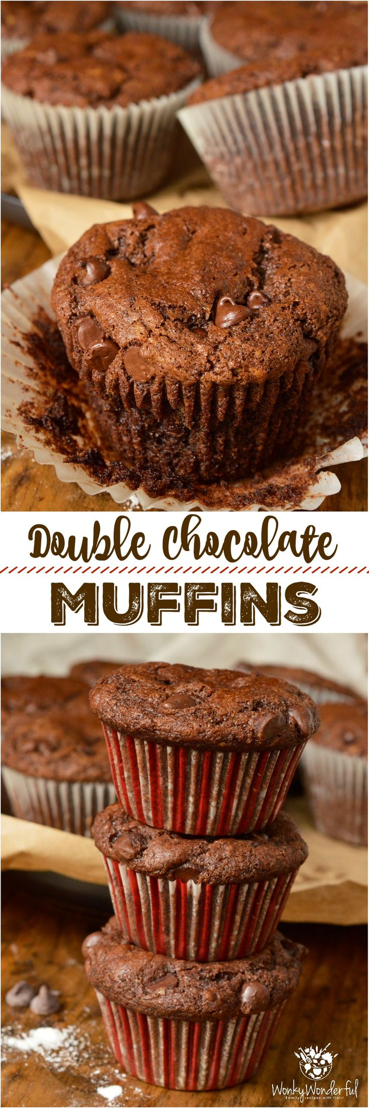 Inspired by Costco Jumbo Chocolate Muffins, theseDouble Chocolate Chip Muffins are even better! Quality Dutch-processed cocoa and a generous amount of chocolate chips make this the ultimate chocolate lover's recipe. What's better than eating chocolate cake for breakfast!?!? #chocolatemuffins #muffinrecipe #muffins ad