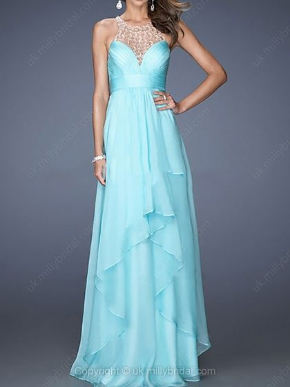 A-line Jewel Chiffon Floor-length Beading Prom Dresses -USD$205.64