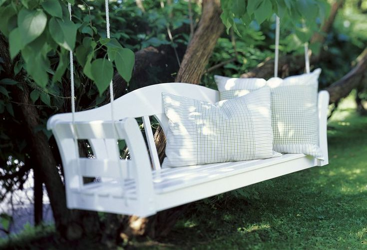 Sweet Paul's hanging bench is made from an inexpensive bench from Target or Ikea!