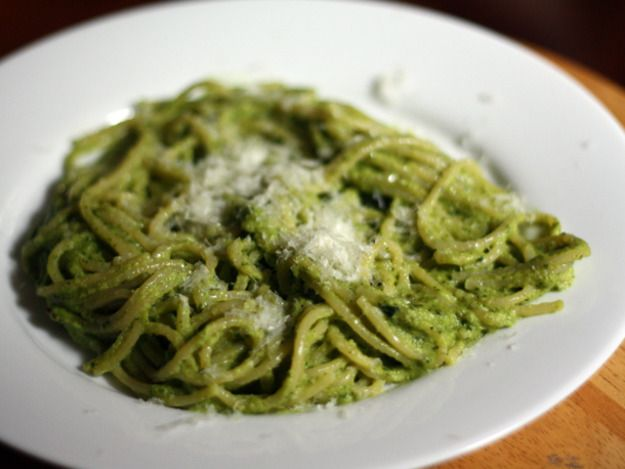 Mexican Style (Poblano) Green Spaghetti, very similar to my mom's recipe which is still the best I've ever had and it might be cause she sprinkles cut up pieces of bacon on each serving
