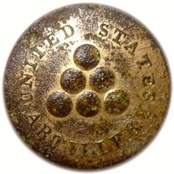 U.S. 2nd Regiment of Artillery, c.1808, 23mm, (slightly convex gilded brass) Albert's AY 30, Extremely Rare