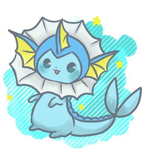 Although vaporeon is not my favorite of the eevee evolutions he or she is still adorable!