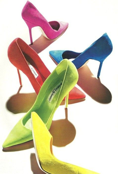 Blahnik: Rainbows Shoes, Fashion Shoes, Rainbows Connection, Bright Colour, Manolo Blahnik, Colors Wheels, Manoloblahnik, 60S Style, Bright Colors