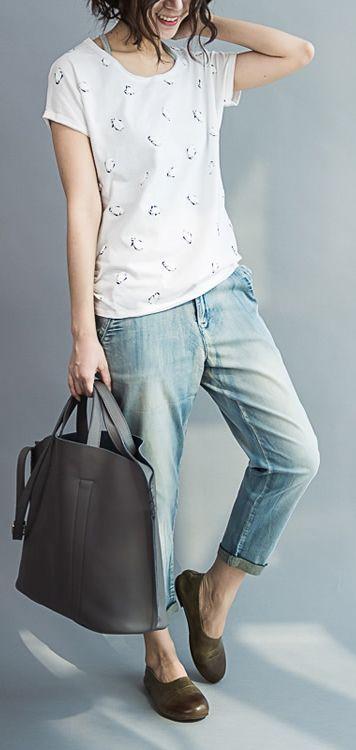 2017 Summer T shirt penguin print cotton shirts blouse plus size cotton tops
