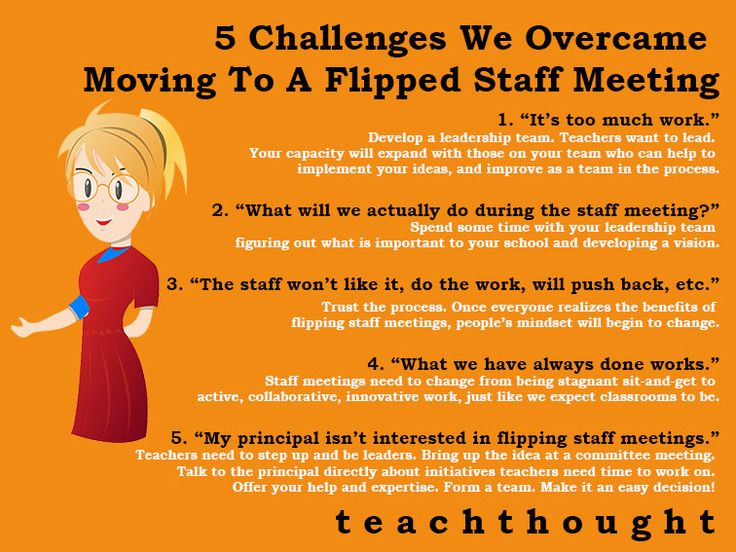 Flipping staff meetings - challenges and how to overcome them (same challenges in teaching!)