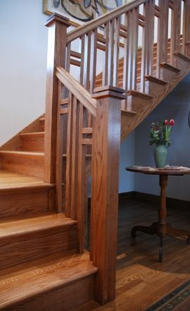 Craftsman Stair Railings | arsts and crafts stair, mission style staircase | Designed Stairs