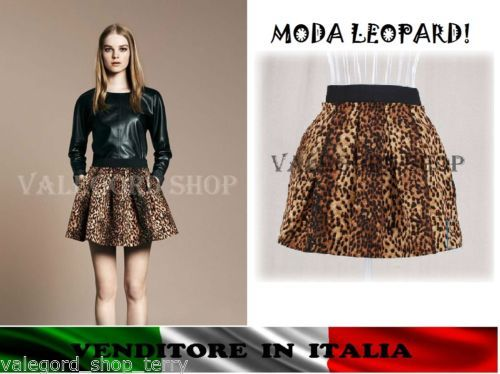 Mini-gonna-LEOPARD-animalier-ondeggiante-moda-fashion-elegante-jupe-skirt-rock