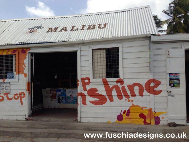 Corner shop all branded in Malibu just like on the adverts.  By www.fuschiadesigns.co.uk.