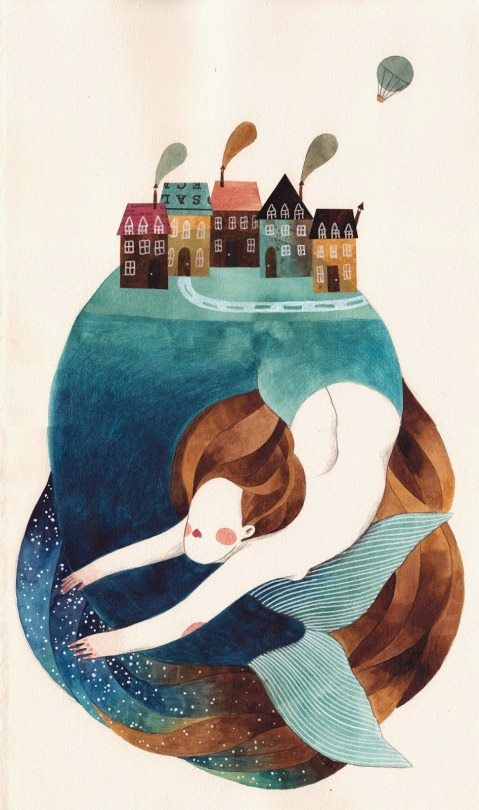 Gemma Capdevila, mermaid, sea, island, village, pueblo, houses, casas, illustration.
