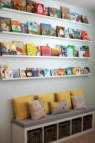 nursery library wall- this is soooo awesome. Love the colors, pillows, bench and EVERYTHING!