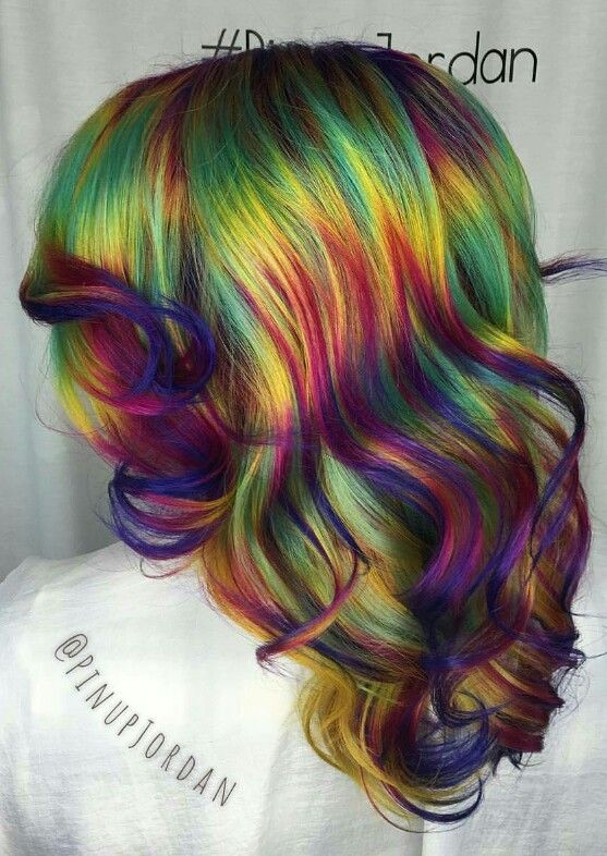 Love this dark rainbow dyed hair color inspiration