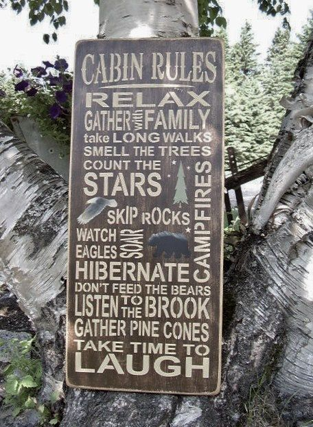 Cabin Sign Cabin Rules Subway/Typography Word Art Distressed Sign. $55.00, via Etsy.