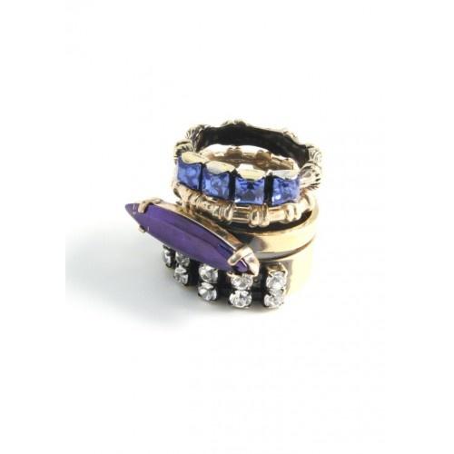 Iosselliani - Set of 4 Brass Rings with Swarovski Stones