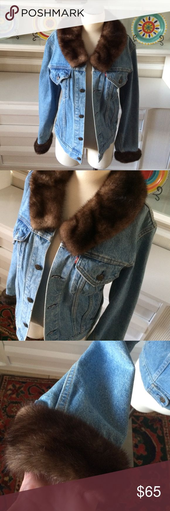 Upcycled vintage Levi's denim jacket with fur Awesome jacket, with genuine fur around cuffs and collar.  Staining I the inside.  Fits a large Levi's Jackets & Coats Jean Jackets