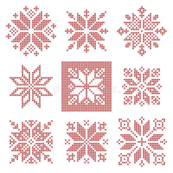 Download Nine Cross Stitch Snowflakes Pattern, Scandinavian Style Stock Vector - Image: 73332550