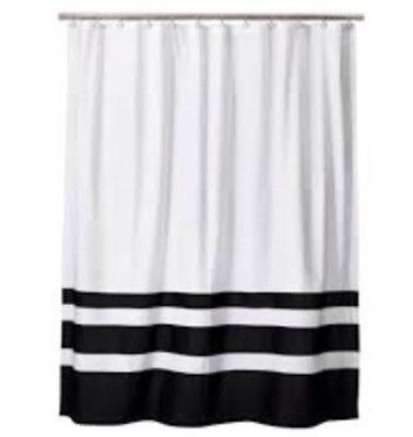 Home Threshold For Target Shower Curtain Bottom Stripe White And