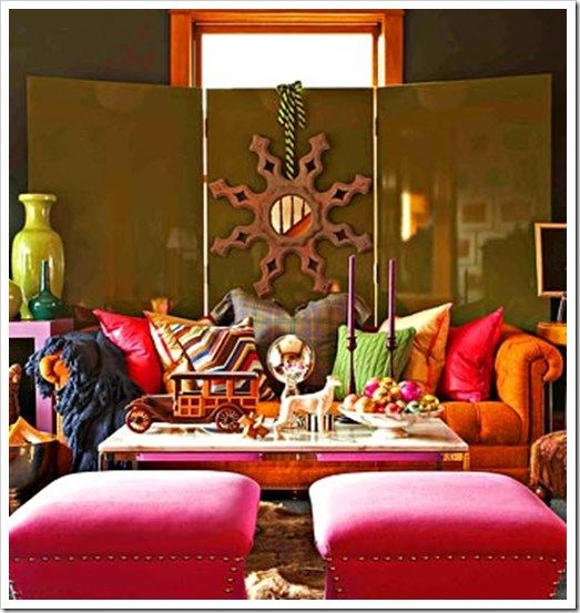 love the use of the screen with the mirror, and the COLORS!Decor, Ideas, Living Spaces, Livingroom, Colors Room, Interiors Design, Bohemian Living, Living Room, Bright Colors