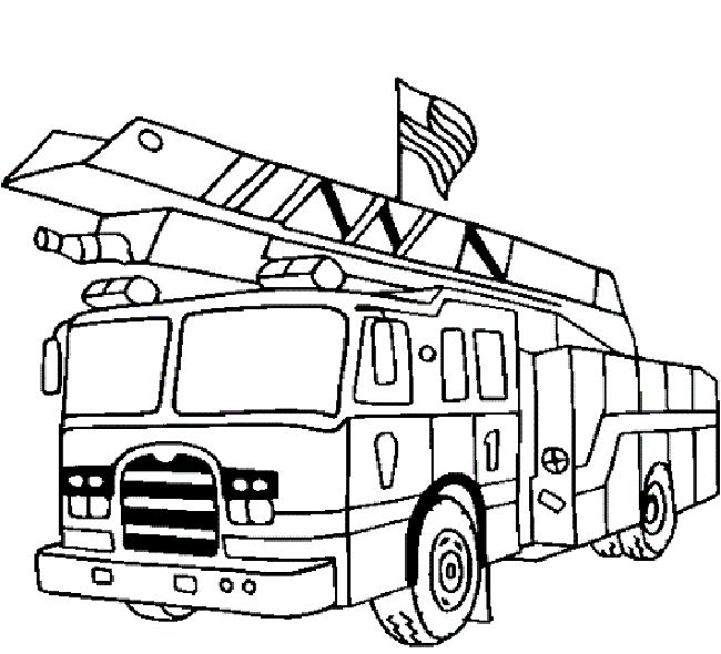 carton fire truck coloring pages