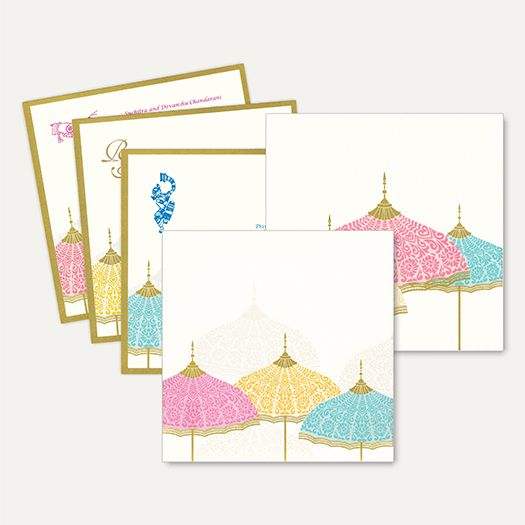 This Royal and Classy traditional hardbound card is made out of Ivory Cream textured paper board with pastel color umbrella theme which comes with matching mailing box envelope with colourful umbrella design inserts. ‪#‎InterfaithCards‬ ‪#‎WeddingInvitations‬ ‪#‎MarriageCard‬