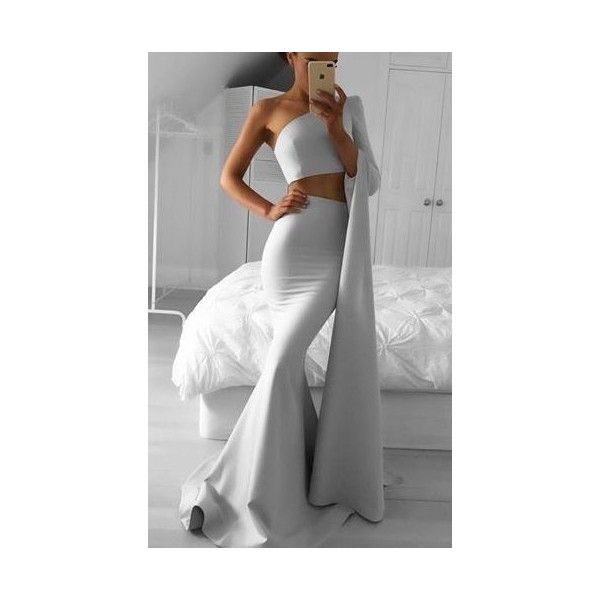 New Arrival Mermaid Two-Piece One Shoulder Long Prom Dress ❤ liked on Polyvore featuring dresses, one sleeve prom dress, two piece cocktail dresses, cocktail prom dress, one shoulder cocktail dress and one sleeve cocktail dress