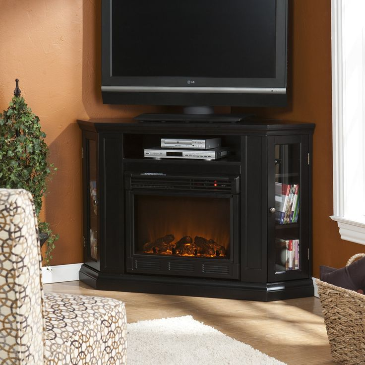 Corner Electric Fireplace Tv Stand With Cabinet In Black Corner Fireplace Tv Stand Pinterest