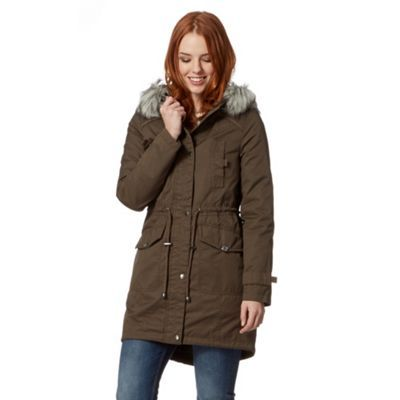 Mantaray khaki faux fur parka jacket
