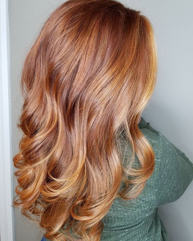 Results from my Balayage application posted earlier! Gorgeous Ginger with Copper hilites! Oligo Blacklight Balayage clay lightener and extra light blonde lightener with 40 volume. Followed by PM SHINES 9RO 9V Clear on her hilites and 6RO 9RO  9BV 15 min under a hood dryer.