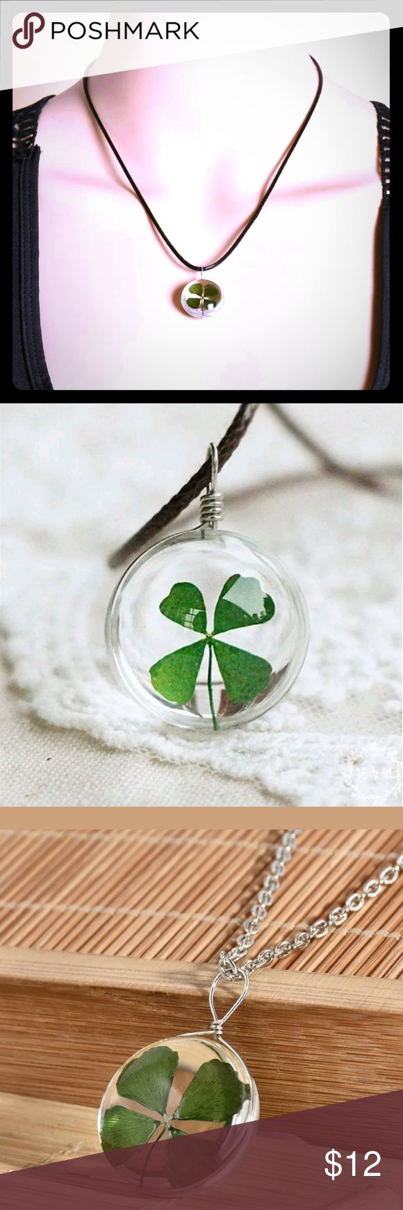 Green lucky shamrock necklace four leaf clover charm emerald green - Lucky Shamrock Necklace Adorable Necklace With Real Four Leave Clover Encased In Glass Pendant