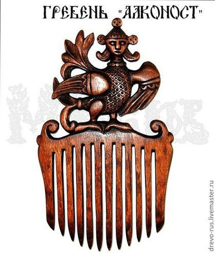 Гребень-заколка, деревянный (славянские мотивы) - гребень деревянный,Птица Алконост