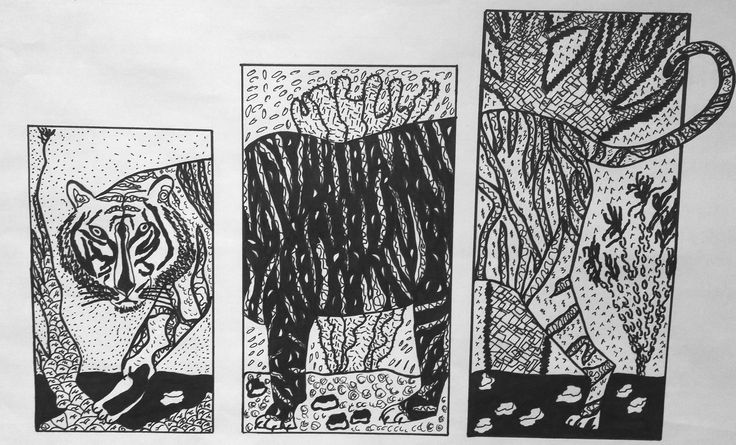 Line Triptych project,  Art Foundations 11 by  Amanda.