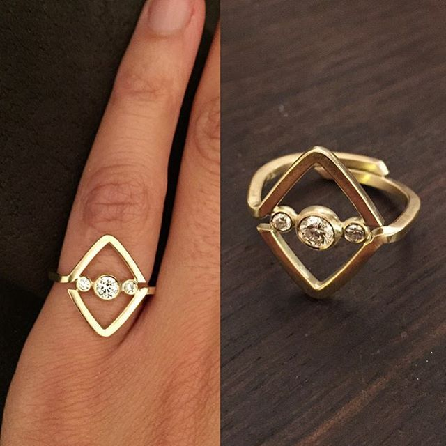 One lucky girl received this Art Deco inspired engagement ring the other night.  Recycled gold and diamonds, just the way I like it!  #sømandpåfrierfødder #tak #jrsmithjewellery #jewellery #jewelry #recycledgold #gold #diamonds #artdeco #lines #geometry #bling