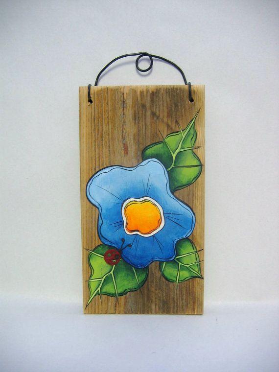 Barn Wood Funky Flower Pink or Blue Rustic by barbsheartstrokes,