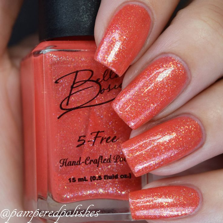 Coral Reef  (Coral nail polish with shimmer and gold flakes) by BellaBosio on Etsy