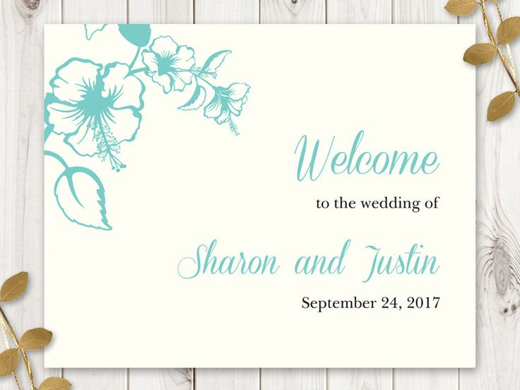 Welcome Wedding Sign Template Hawaii Turquoise Collor Palette Diy Printable Instagram