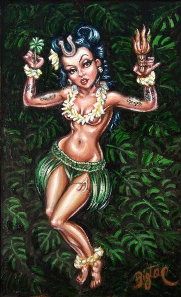 Lucky Hula Girl by Big Toe Tiki Pinup Hawaii Tattoo Canvas Art Print – moodswingsonthenet