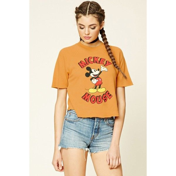 Forever 21 Women's  Mickey Mouse Graphic Tee ($18) ❤ liked on Polyvore featuring tops, t-shirts, graphic t shirts, graphic design t shirts, graphic print tees, forever 21 and mickey mouse t shirt