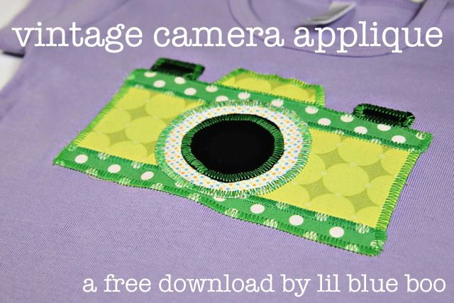 Vintage camera applique download via lilblueboo.com